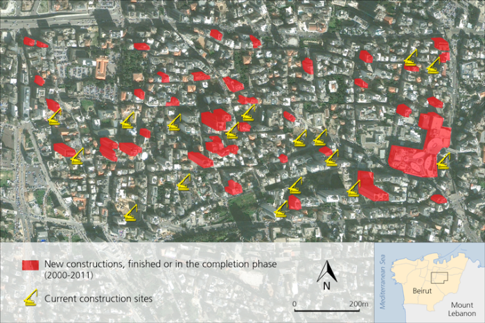 Buildings demolished and evicted families in the western part of Achrafieh Source: Les Carnets de l'IFPO .